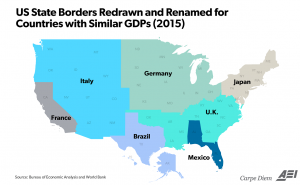 as wef noted on its blog seven areas of the us have the same gdp as entire countries we were very surprised that the ecological footprints of these same