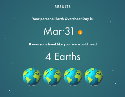 calculator results showing 4 Earths