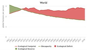 world ecological footprint and biocapacity per person